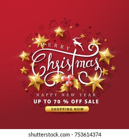 Merry Christmas and Happy New Year sale banner background with golden stars and christmas icon set.discount gift voucher card for Xmas Holiday.Calligraphy.Vector illustration template.