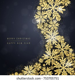 Merry Christmas and Happy New Year greeting card with gold glittering snowflakes wave on dark background. Winter seasonal holiday background