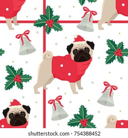 Merry Christmas and Happy New Year Seamless pattern with the Pug dogs
