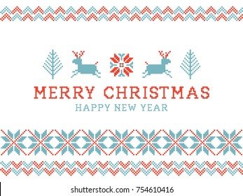 Merry Christmas and happy new year. Knitted nordic pattern