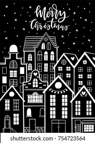 Merry Christmas and Happy New year greeting card. Winter city with snowflakes and cute houses. Old town.