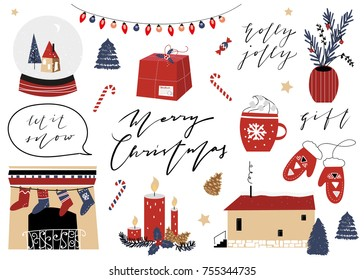 merry christmas happy new year collection scandinavian christmas design set vector illustration nordic