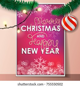 merry christmas and happy new year party invitation card