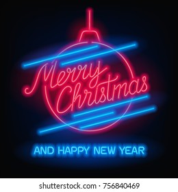 Merry Christmas and Happy New Year text. Vector glowing neon sign. Xmas card.