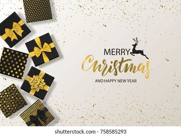 Merry Christmas and Happy New Year background with gift box and confetti. Modern design.Universal vector background for poster, banners, flyers, card.