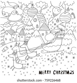 merry christmas and happy new year vector coloring page with snowflakes christmas balls santa