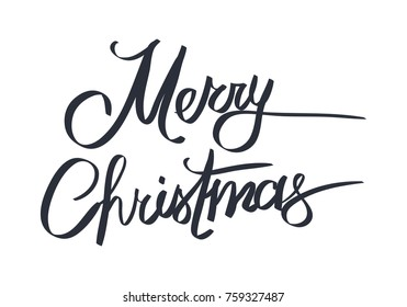 Merry Christmas and Happy New Year white greeting card with calligraphic black text in dark lines isolated on white. Vector illustration of creative cartoon festive handwritten postcard in flat design