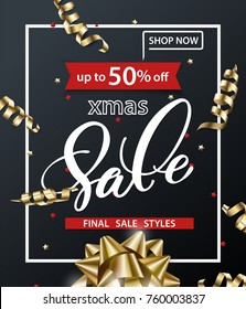 Merry Christmas and Happy New Year pattern of sales banners with Christmas gold bow, Christmas decorations on dark background. Sale concept. Vector illustration.