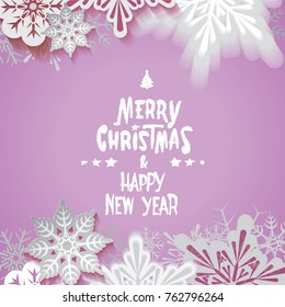 Merry Christmas and Happy New Year retro postcard,cutout stylized and defocused transparent falling snowflakes and textual signboard isolated on purple background.Vector illustration.