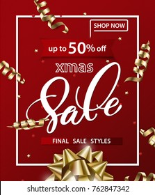 Merry Christmas and Happy New Year pattern of sales banners with Christmas bow with decorations on a red background. Sale concept. Vector illustration.