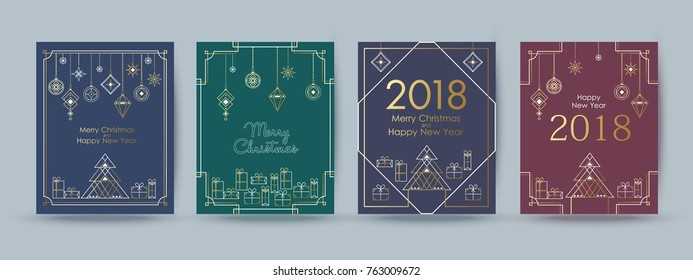 Merry Christmas and Happy New Year typographical  background with holiday decorative elements. Greeting card, invitation, flyer.