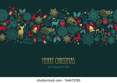 Merry christmas happy new year vintage golden seamless pattern background with deer and holiday elements. Ideal for elegant xmas greeting card. EPS10 vector.