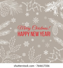 Merry Christmas and Happy New Year greeting card, banner, vector illustration