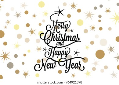 Merry Christmas and happy new year calligraphic lettering with balck tree and golden stars on white background - Vector greeting card
