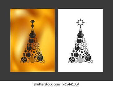 Merry Christmas and Happy New Year 2020. Unusual Christmas tree. Greeting card for sportsmen