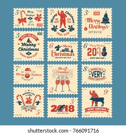 Merry Christmas and Happy New Year 2018 retro postage stamp with Santa Claus, Christmas tree, gifts and reindeer. Vector illustration.
