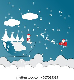 Merry Christmas and Happy New Year. Illustration of Santa Claus.