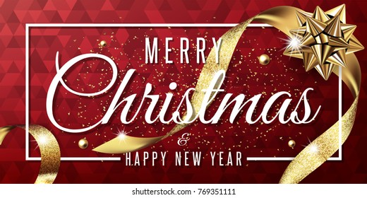 merry christmas and happy new year 2018 vector greeting card and poster design with golden ribbon