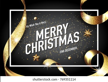 merry christmas and happy new year 2018  vector greeting card and poster design with golden ribbon,star and confetti.