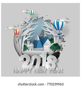 Merry Christmas and happy new year 2018 .graphic red green blue  background .paper cut art style Vector EPS 10
