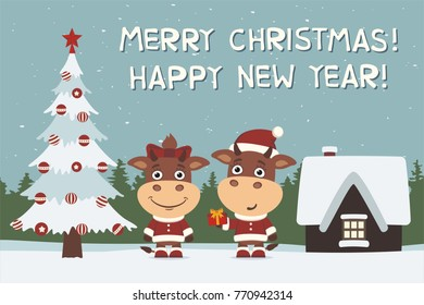 Merry Christmas and Happy New Year! Greeting card: cow and bull, boy and girl, with gift near tree.