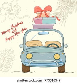 Merry Christmas and Happy New Year hand drawn vector illustration. Bright colorful car with presents on light background can be used for invitation, card, banner template, flyer, sale and website