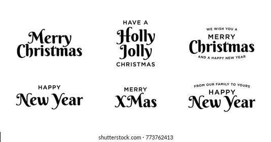 Merry Christmas and Happy New Year Vector Typography Set for banners, greeting cards, poster, gifts, etc.
