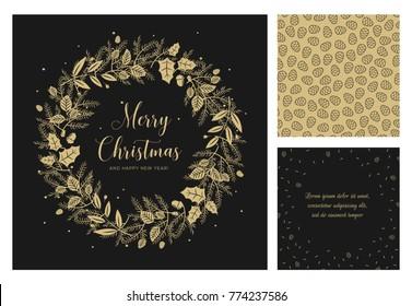 Merry Christmas and Happy New Year greeting card. Wreath with gold berries, leaves, pine branches and fir cones. Round frame for winter design on black background. Vector illustration in modern style