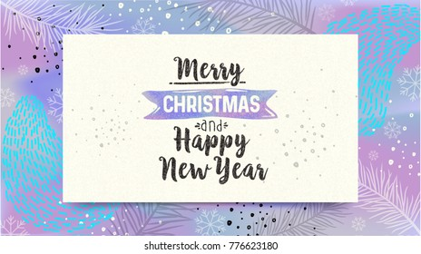 Merry Christmas and Happy New Year card. Greeting winter banner poster calligraphy. Handwritten lettering on fluorescent background. Trendy 80's and 90's style template easy editable for Your Design.