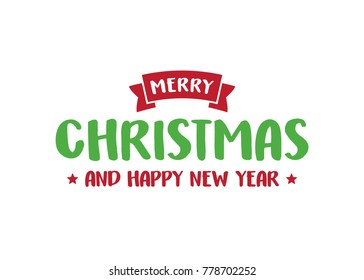 Merry Christmas and Happy New Year Holiday Greeting Card Vector Text Background