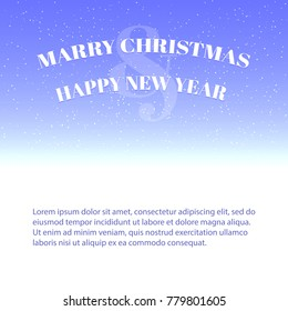 Merry Christmas and Happy New Year Greeting Card. Vector Background for Text Message. Vector Illustration with Falling Snow. Vector Template.