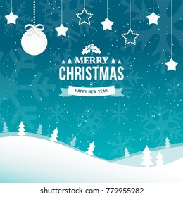 Merry Christmas and Happy New Year greeting card background with snowflakes. Winter scene flat landscape background with falling snow and trees. Paper garland of stars with xmas ball. Vector.