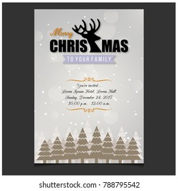 Merry Christmas. Happy New Year. Christmas Invitation Card with creative typography and invitation text on Light Brown snowflake pattern background