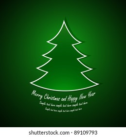 Merry Christmas and Happy New Year card with green christmas tree. Vector illustration