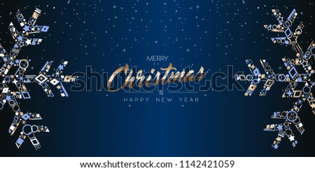 merry christmas and happy new year web banner design elegant snowflake decoration made of luxury