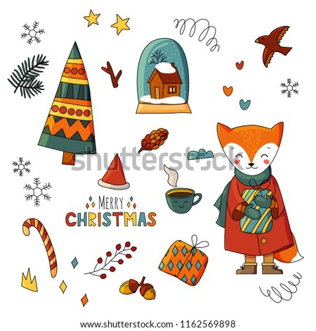 merry christmas and happy new year characters and items printable on white background