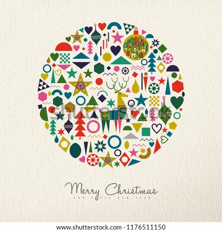 merry christmas and happy new year holiday folk art card illustration scandinavian style decoration icons