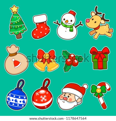 merry christmas and happy new year sticker label decorations cute style