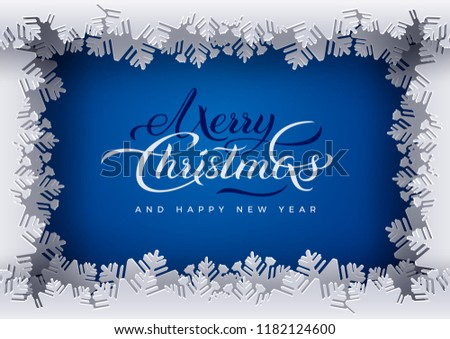 merry christmas and happy new year banner blue background white frame decoration with paper