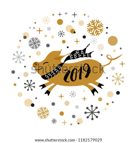 merry christmas and happy new year 2019 golden pig gold snowflakes stars banner on white