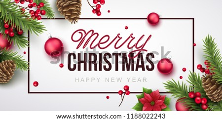 merry christmas and happy new year background vector illustration with christmas elements