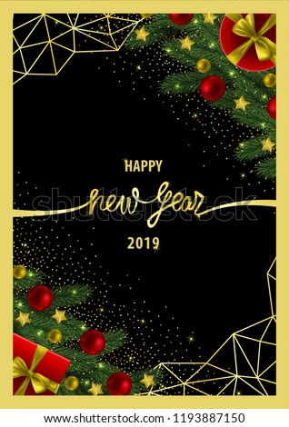 merry christmas and happy new year invitation card with gold geometric frame on black background