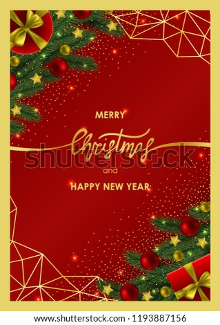 merry christmas and happy new year invitation card with gold geometric frame on red background