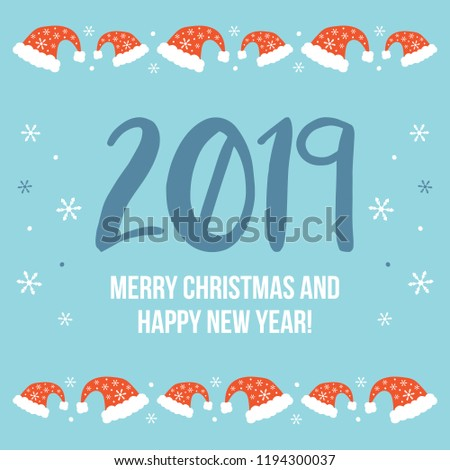 3ba590419a854 Merry Christmas Happy New Year 2019 Stock Vector (Royalty Free ...