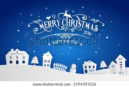 Merry Christmas Happy New Year 2019 Stock Vector (Royalty Free ...