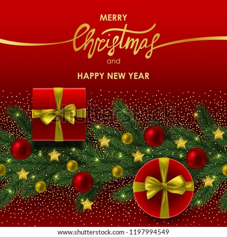 merry christmas and happy new year invitation card with gold lettering on red background template