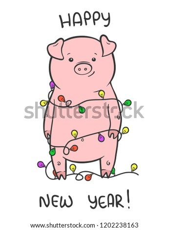 merry christmas and happy new year vector cute illustration with funny piglet holiday hand drawn