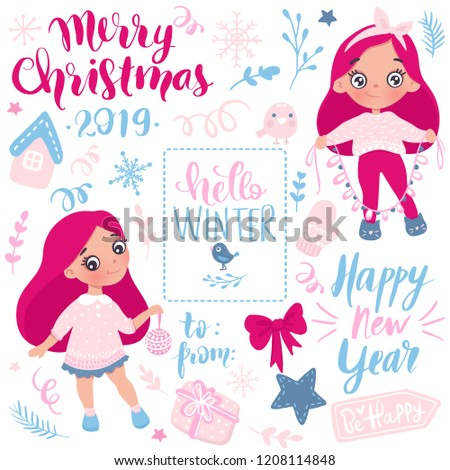 merry christmas and happy new year 2019 vector collection hand drawn holidays set in cartoon