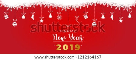 merry christmas and happy new year banner with christmas decoration red and white ball