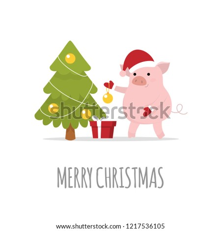 merry christmas and a happy new year 2019 cute christmas pig year of a